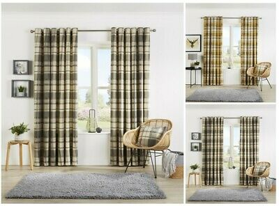 Check Ready Made Pair Of Lined Ring Top Eyelet Cotton Gingham Check Curtains • 21.99£