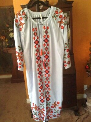 $29.99 • Buy Zara Trf Collection Embroidered Tassels Oversized Shift Shirt Dress Sz M