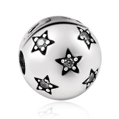 Twinkle Stars Silver Plated Stopper BEAD Charm Clip For European Bracelets • 4.95£