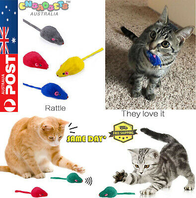 AU9.95 • Buy Cute Pet Cat Kitten Furry Rattle Mouse Interactive Mice Play Fun TOY AU STOCK