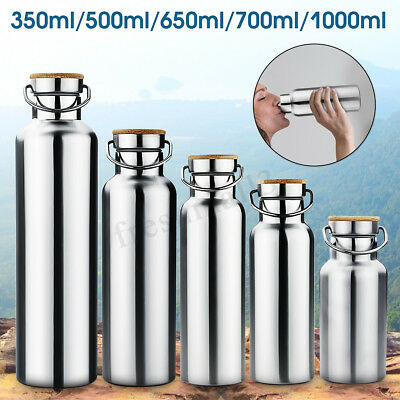 AU19.99 • Buy Stainless Steel Insulated Water Bottle With Bamboo Cap