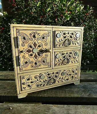 Indian Hand Carved Made Mango Wood Wooden Jewellery Box Chest Case Holder Large • 39.99£