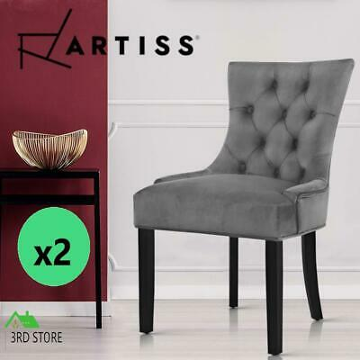 AU172.55 • Buy Artiss 2x Dining Chairs French Provincial Retro Chair Wooden Velvet Fabric Grey