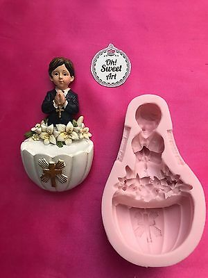 FIRST COMMUNION PRAYING BOY Silicone Mold Fondant Cake Decorating Toppers Wax  • 15.69£