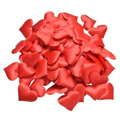 Red Satin Padded Fabric Love Heart Arts And Craft Embellishment Card Decoration  • 0.99£