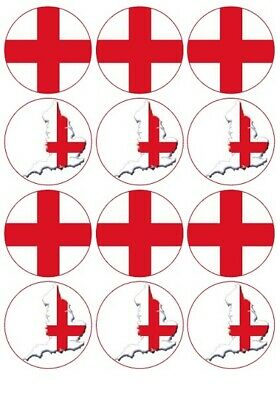£1.99 • Buy 24 England Flag English Fairy Cup Cake Toppers Edible Birthday Party Decorations