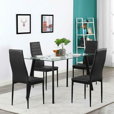 $166.59 • Buy Hot 5 Piece Dining Table Set 4 Chairs Glass Metal Kitchen Room Furniture Black