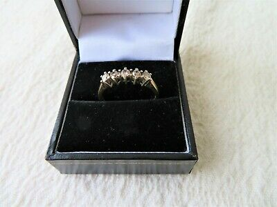 9CT YELLOW GOLD 5 STONE 1/2 CT DIAMOND RING, SIZE Q 3/4 2.71gs SHEFFIELD H/MARKS • 195£