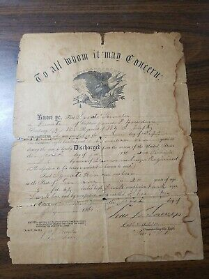 $110 • Buy  188th New York Volunteer Infantry NYVI Civil War Discharge Paper With Research!