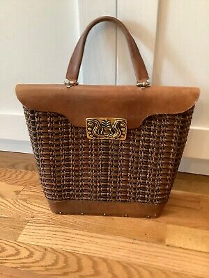 $39.99 • Buy 1950s Collins Of Texas Bag Frederic Collins Brass Clasp Woven Leather Bag