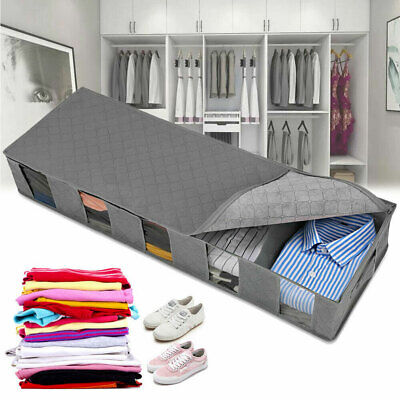 Large Capacity Under Bed Storage Bag Box 5 Compartments Clothes Shoes Organizer • 9.31£