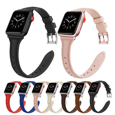 $ CDN11.31 • Buy Slim Leather IWatch Band Strap For Apple Watch Series 5 4 3 2 1 38/42mm 40/44mm