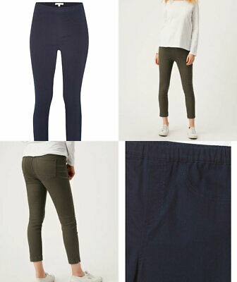 White Stuff Womens 'Jade' Soft Navy Blue Or Khaki Green Cropped Jegging Trousers • 7.19£