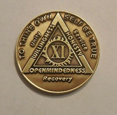 $3.80 • Buy Aa Bronze Alcoholics Anonymous 11 Year Sobriety Chip Coin Token Medallion NEW