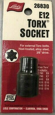 $9.99 • Buy Lisle 26830 E12 3/8  Drive External Torx Socket E-12 BRAND NEW IN PACKAGE