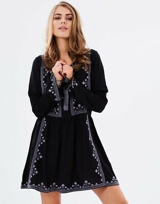 AU32 • Buy Tigerlily Boho Embroided Dress Bacolet Black Size 10