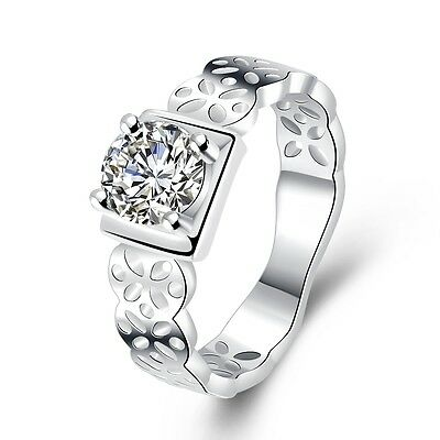 Luxury Ladies Rings Silver Clear Stone Women Ring 17 Mm Square Size O FR235 • 5.89£