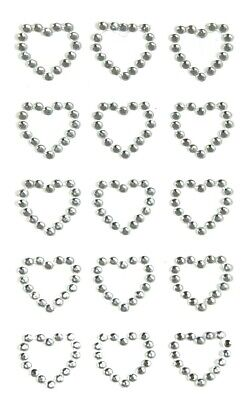SILVER Open Heart Diamante Gem Stickers X 15 Valentines Craft Embellishments 2cm • 2.49£