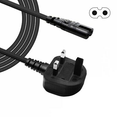 £4.65 • Buy 2m Power Cord UK 3 Pin Plug To C7 Figure 8 Power Lead Fig 8 Power Cable Mains