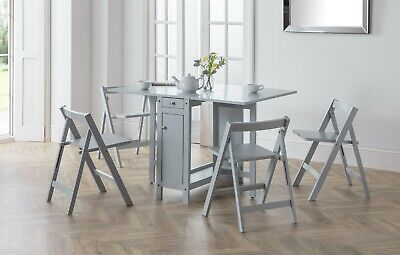 £243.99 • Buy Savoy Folding Drop Leaf Butterfly Dining Set With Table 4 Chairs Light Grey