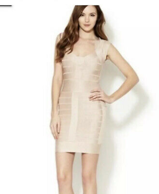 French Connection Bandage Dress Tight Body Con Nude Party Occasion Size 8 10 • 20£