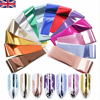 14 Sheets Metallic Nail Foils Silver Rose Gold Nail Transfer Stickers Decoration • 2.99£