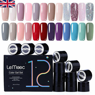 12Box/set LEMOOC Pink Nude Gel Nail Polish Set Glitter Soak Off UV Gel Varnish • 9.99£