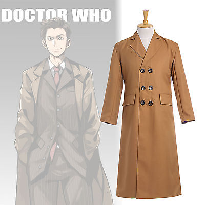 New! 10th Doctor Who David Tennant Overcoat Long Coat Cosplay Costume Tops • 39£