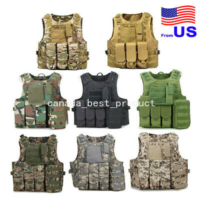 $35.99 • Buy Tactical Military Vest Molle Combat Assault Plate Carrier Airsoft Paintball USA
