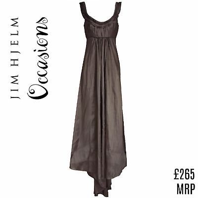 Jim Hjelm Dress Maxi Formal Special Occasion Silver Grey Empire High Low Size XS • 28.99£