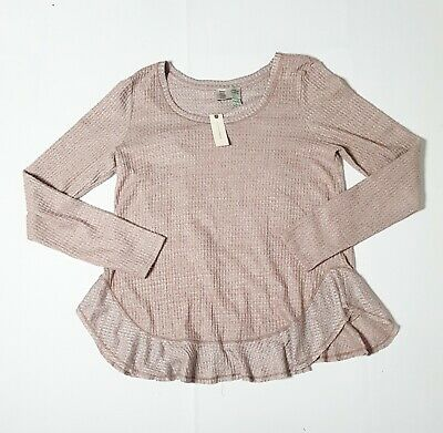 $ CDN39.50 • Buy Anthropologie Silver Gray  Saturday Sunday Nolina Frill Trim Sweater Size L NWT