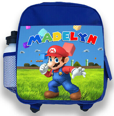 Personalised Kids Blue Backpack Any Name Super Mario Boys Childrens School Bag • 14.95£