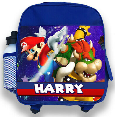 Personalised Kids Blue Backpack Any Name Super Mario Boys Childrens School Bag 1 • 14.95£