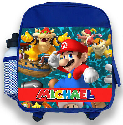 Personalised Kids Blue Backpack Any Name Super Mario Boys Childrens School Bag 4 • 14.95£