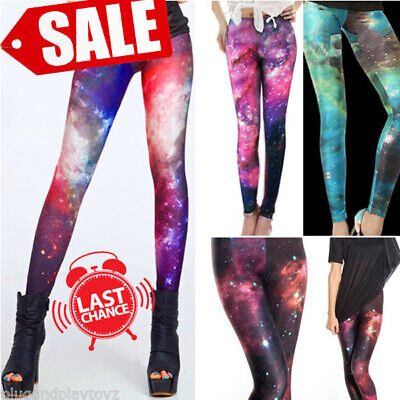 £4.01 • Buy Ladies Galaxy Cosmic Printed Stretchy Jeans Leggings Tight Pants Graphic SALE US