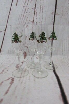 $21.95 • Buy 4 Tienshan Holiday Hostess Christmas Tree 6 Oz Champagne Flutes Glass 7 3/4