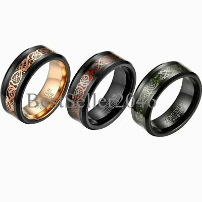 $16.99 • Buy 8mm Tungsten Carbide Celtic Dragon Inlay Ring Men Promise Wedding Band Size 7-14