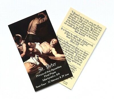 ST SAINT PETER - APOSTLE, MARTYR & FIRST POPE Prayer Card - Wallet / Purse Size • 1.50£