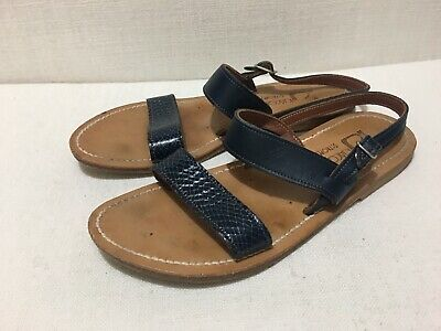 AU80 • Buy K JACQUES - 'Barigoule' Snake Effect And Navy Blue Leather Sandals - Sz 40