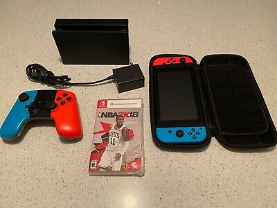 $227.50 • Buy Nintendo Switch Neon Red And Neon Blue Joy-Con Console Bundle - USED + GAME