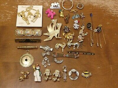 $ CDN28.04 • Buy Vintage Brooch Pin Lot Of 41 Estate Collection Mixed Signed Unsigned Array