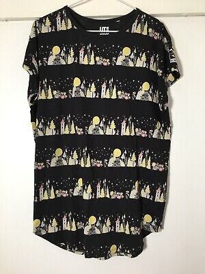AU24.99 • Buy Moomin Uniqlo Womens Black Patterned T Shirt Top Size L Cotton/modal
