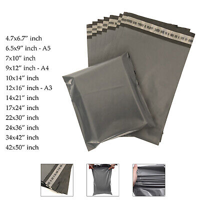 Grey Mailing Bags Large Medium Small Plastic Postage Postal Mail UK Cheapest • 3.49£
