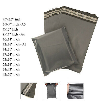 Strong Mailing Bags Large Medium Small Grey Plastic Postage Postal Mail UK • 1.99£