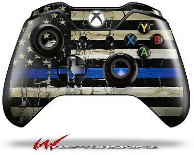$8.95 • Buy Painted Cracked Blue Line Stripe USA American Flag Skin For XBOX One Controller