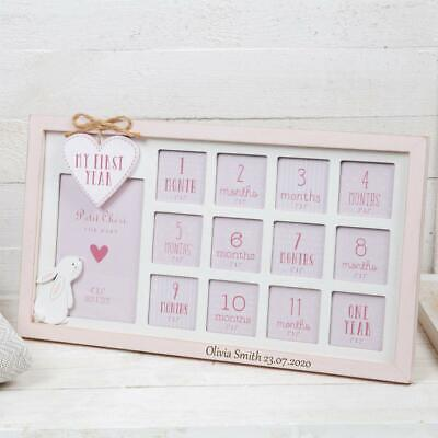 £21.99 • Buy Personalised Wooden Baby Girl First Year 12 Month Hanging Photo Frame CG1728P-P