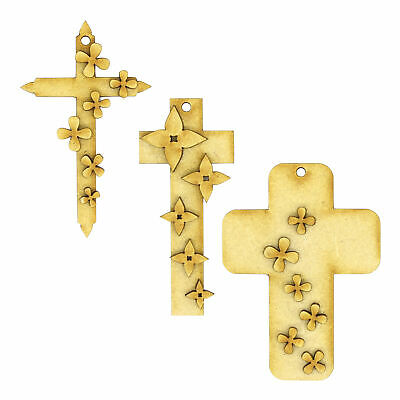 £3.50 • Buy Easter Cross With Flowers 3mm MDF Hanging Tree Decoration Scrapbook Card Craft