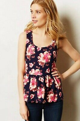 $ CDN28.16 • Buy Postmark Anthropologie Medium Clovelly Floral Peplum Sleeveless Top Shirt New