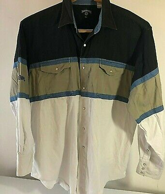 $19.12 • Buy Jack Daniels Old No.7 Embroidered Long Sleeve Button Shirt Sz 2XL XXL Pearl Snap
