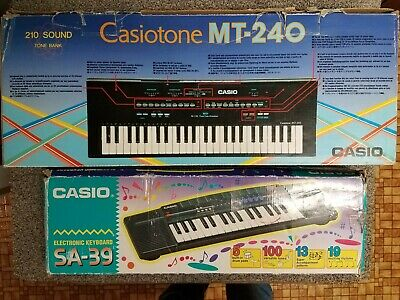 $69.90 • Buy Vtg Casio Casiotone MT-240 & SA-39 Electronic Keyboards Japan 80's W/box Extras